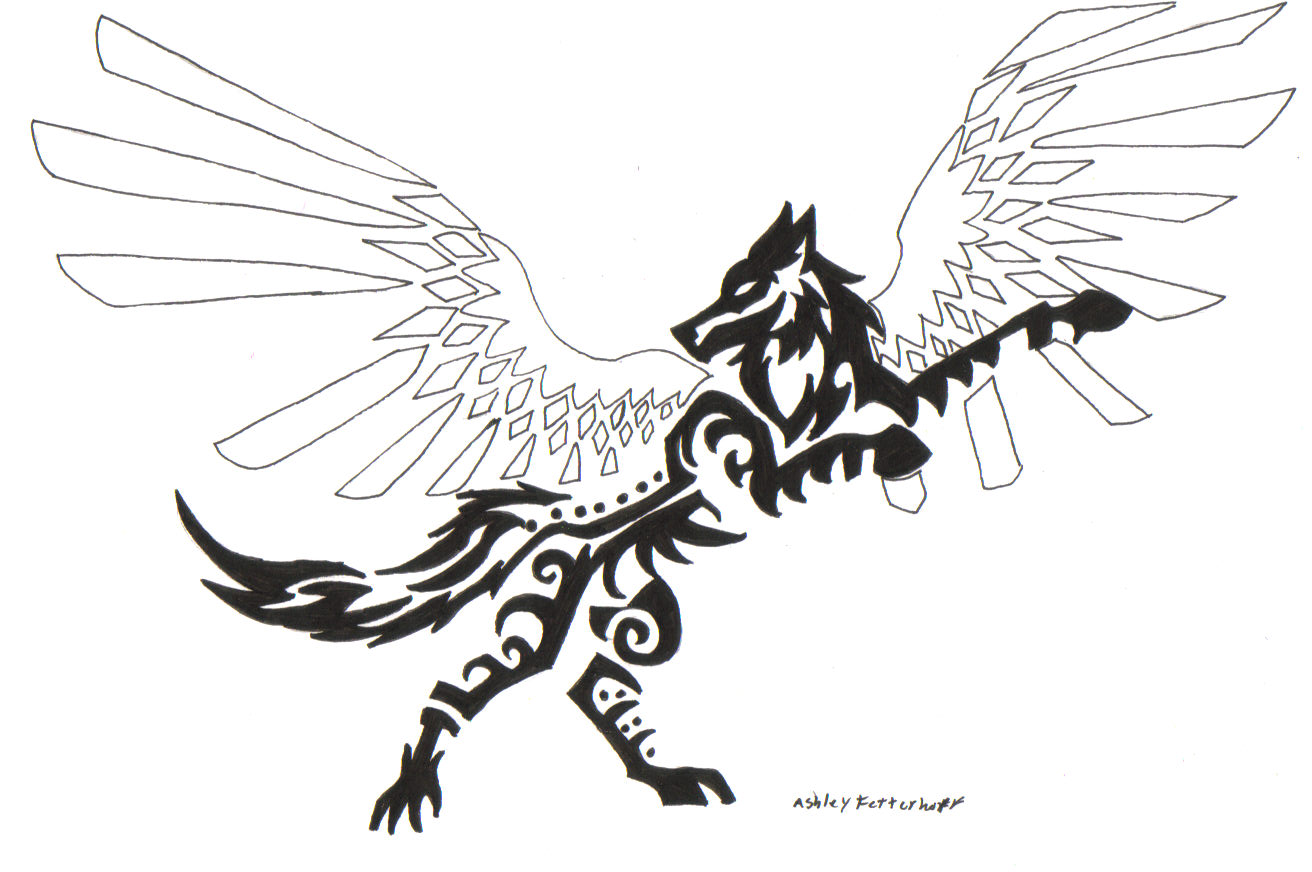 Tribal_winged_wolf_salient_by_hylianwolf